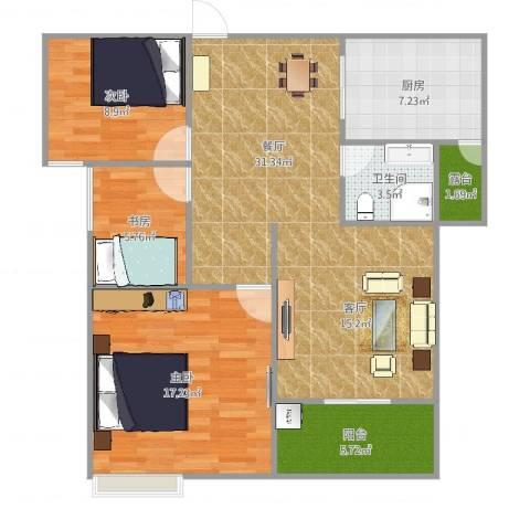 嘉景丽都花园3室1厅1卫1厨102.00㎡户型图