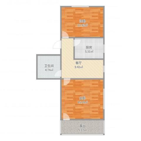 龙南五村2室1厅1卫1厨70.00㎡户型图