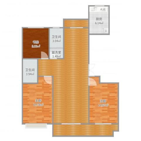 九源・书香园3室2厅5卫1厨126.00㎡户型图
