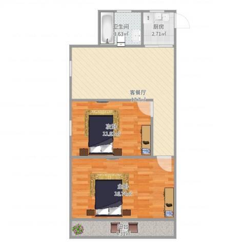绿新小区2室2厅1卫1厨76.00㎡户型图