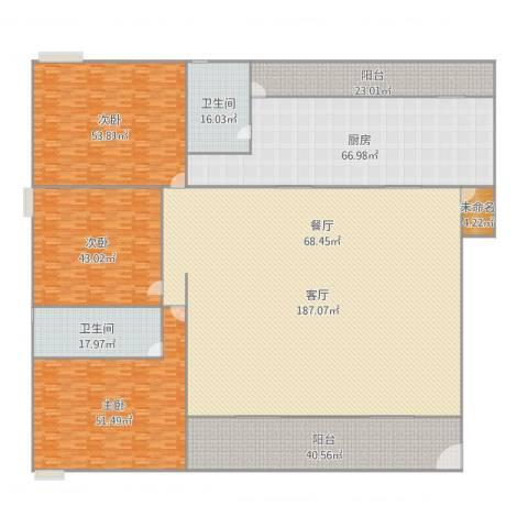 荟丽家园3室1厅2卫1厨653.00㎡户型图