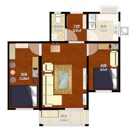 乐山小区2室1厅1卫1厨67.00㎡户型图
