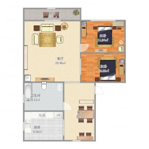 牡丹路225弄小区2室2厅1卫1厨122.00㎡户型图