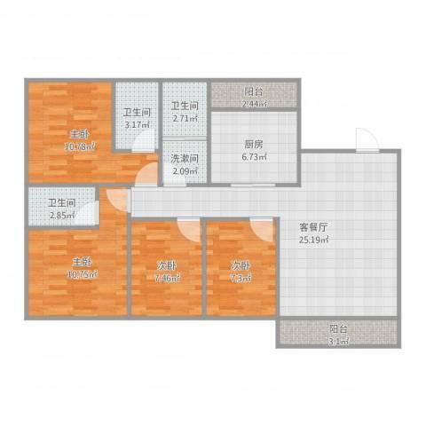 怡翠花园4室2厅3卫1厨106.00㎡户型图