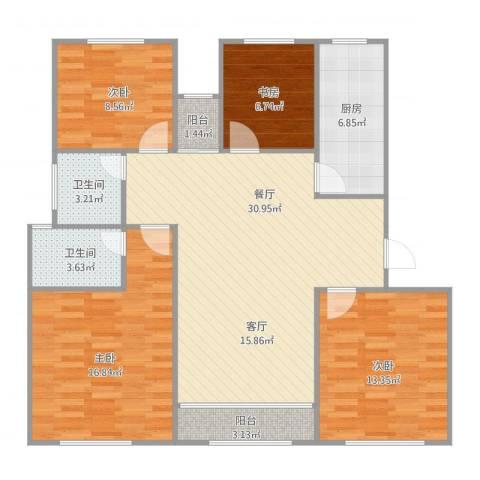 维多利华庭25号02室148平四房4室1厅2卫1厨128.00㎡户型图