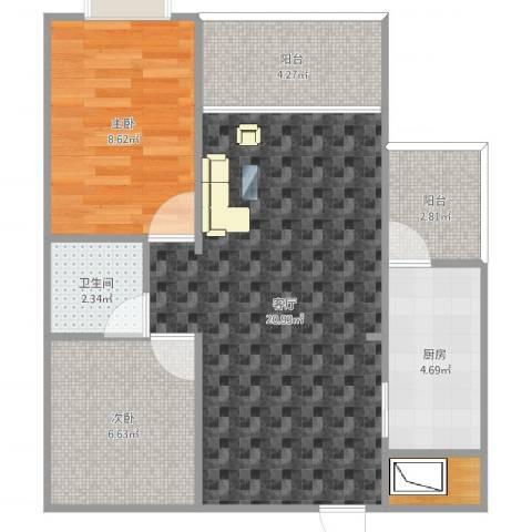 顺联新城花园2室1厅1卫1厨64.00㎡户型图