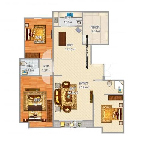 荣盛华府2室2厅1卫1厨138.00㎡户型图