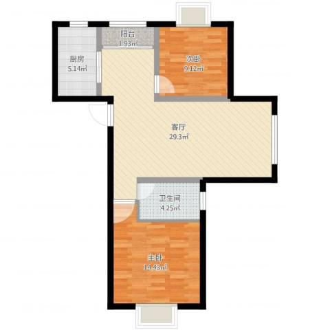 上海裕花园2室1厅1卫1厨80.00㎡户型图