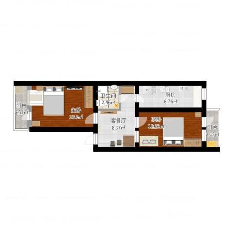 建功北里2室2厅1卫1厨58.00㎡户型图