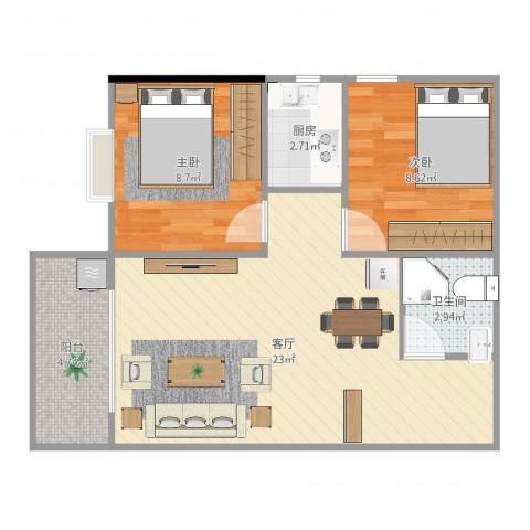 金碧花园2室1厅1卫1厨63.00㎡户型图