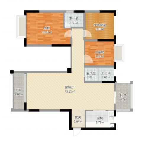 学府花园2室4厅2卫1厨129.00㎡户型图