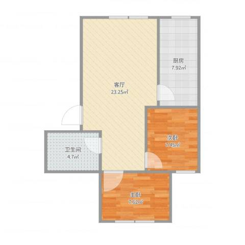 中天富城2室1厅1卫1厨74.00㎡户型图