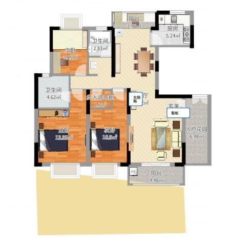 湖滨水岸3室2厅2卫1厨117.00㎡户型图