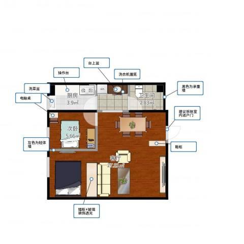 马家堡东路108号院1室1厅1卫1厨52.00㎡户型图
