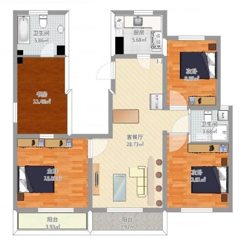 世茂・萨拉曼卡4室2厅2卫1厨126.00㎡户型图