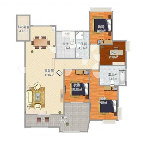 金域廊院4室2厅2卫1厨162.00㎡户型图