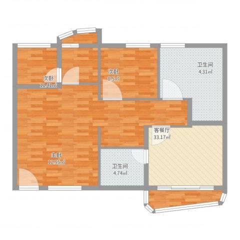 银泉花园3室2厅2卫1厨104.00㎡户型图
