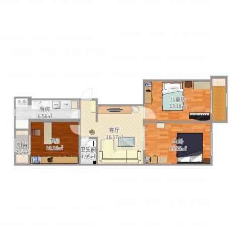 滨府里3室1厅1卫1厨83.00㎡户型图