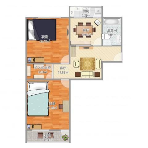 省劳技宿舍2室2厅1卫1厨90.00㎡户型图