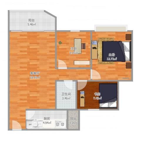 祈福新村绿怡居3室2厅1卫1厨83.00㎡户型图