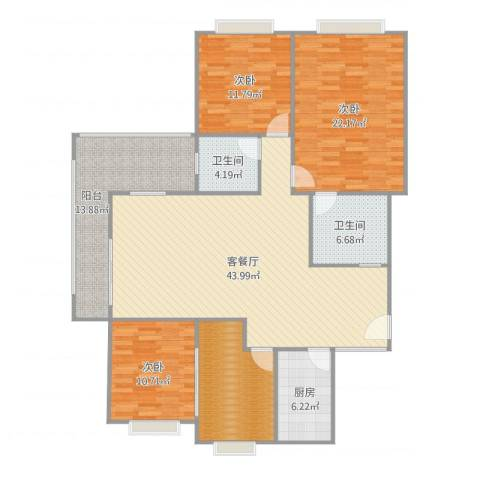 立信帝海观澜3室2厅2卫1厨163.00㎡户型图