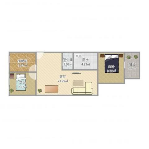 华信花园2室1厅1卫1厨72.00㎡户型图