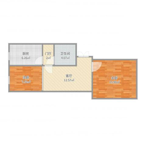 罗庄东里15号楼18882室1厅1卫1厨60.00㎡户型图