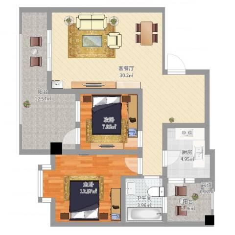 文轩花园2室2厅1卫1厨95.00㎡户型图
