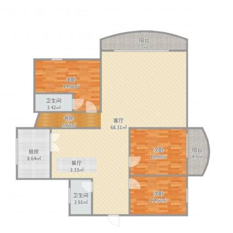 新景园3室1厅2卫1厨169.00㎡户型图