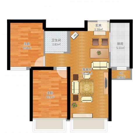 汤河铭筑2室2厅2卫1厨65.00㎡户型图