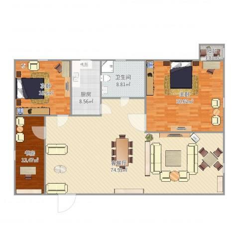 玉田大楼3室2厅1卫1厨201.00㎡户型图