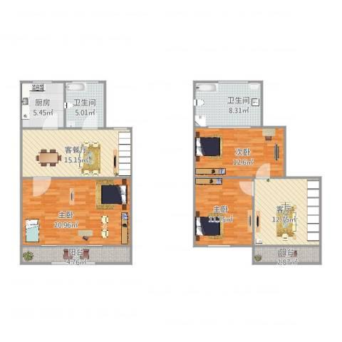 丽景新苑3室3厅2卫1厨134.00㎡户型图