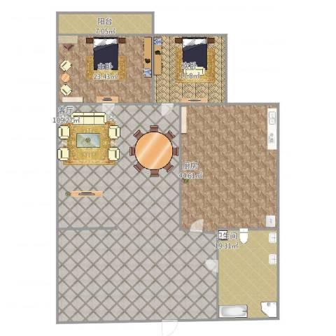 贤文花园2室1厅1卫1厨288.00㎡户型图