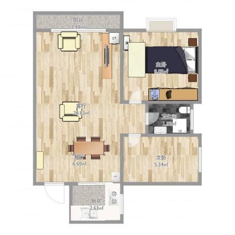 新都华城2室1厅1卫1厨51.00㎡户型图