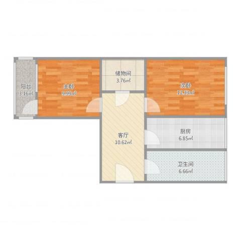 红波西里2室1厅1卫1厨58.27㎡户型图