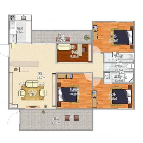 怡翠宏景4室1厅3卫1厨143.00㎡户型图
