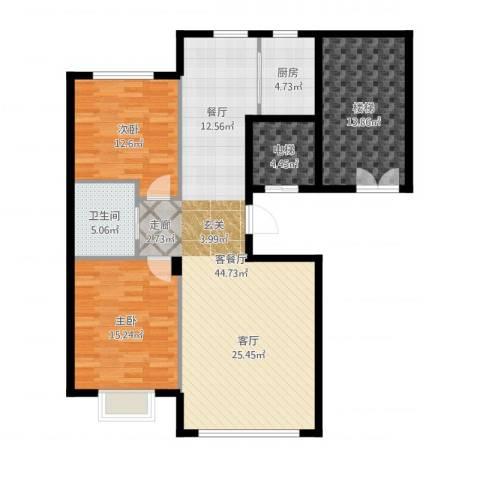 阳光世纪城2室2厅1卫1厨126.00㎡户型图