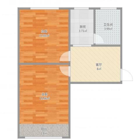 泾东一村一梯三户03室2室1厅1卫1厨59.00㎡户型图
