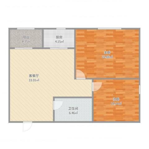 普照园小区2室2厅1卫1厨113.00㎡户型图