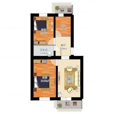 和义西里2室2厅1卫1厨73.00㎡户型图