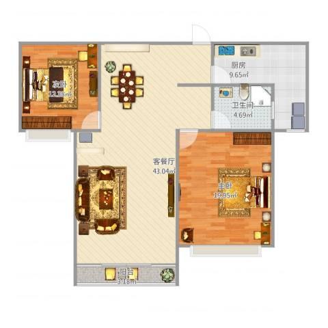 大华路455弄小区2室2厅1卫1厨124.00㎡户型图