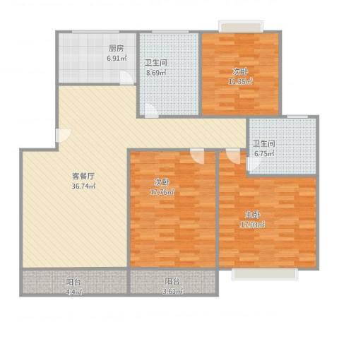 大宅风范城3室2厅2卫1厨152.00㎡户型图