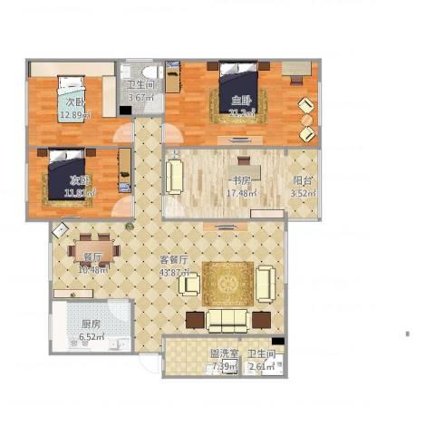 三川花园4室4厅1卫1厨156.00㎡户型图