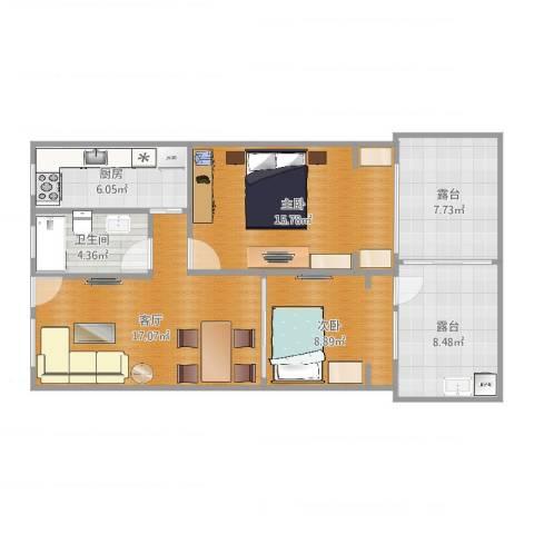 开鲁六村2室1厅1卫1厨74.18㎡户型图