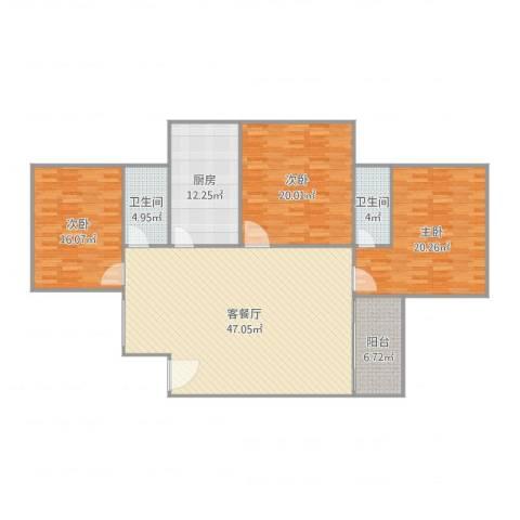 基业花园3室2厅2卫1厨174.00㎡户型图