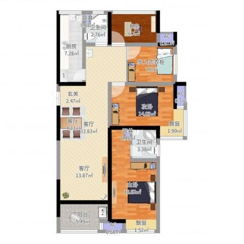 启迪方洲3室1厅4卫4厨125.00㎡户型图