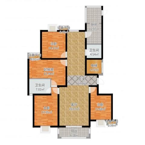奥龙湾3室2厅5卫1厨187.00㎡户型图