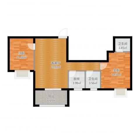 福地华庭2室2厅2卫1厨70.06㎡户型图