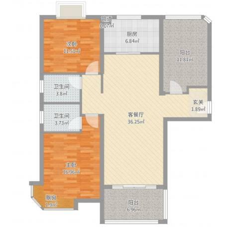 碧桂园凰城2室2厅2卫1厨122.00㎡户型图