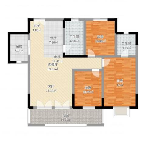 岳屏明珠苑3室2厅2卫1厨132.00㎡户型图